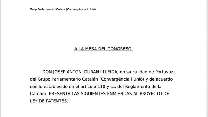 Enmiendas de CiU al proyecto de Ley de Patentes