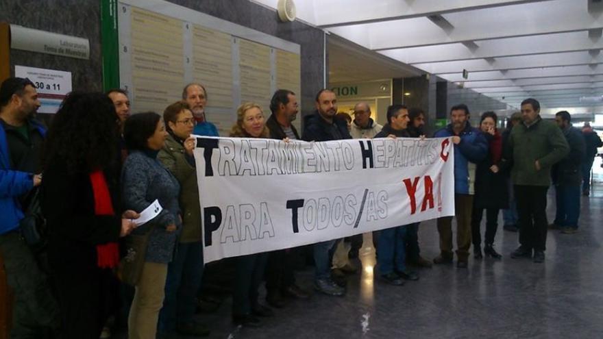Encierro realizado por pacientes con hepatitis C en el Hospital Provincial de Córdoba el pasado mes de diciembre.