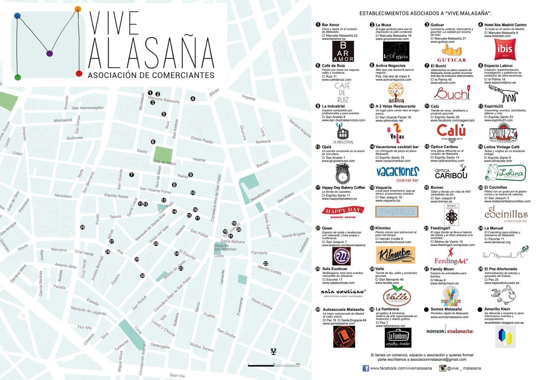 Mapa de los espacios asociados a Vive Malasaña y relación de comercios. Los bolardos decorados quedan dentro del área de influencia de los asociados (pincha sobre el mapa para verlo ampliado)