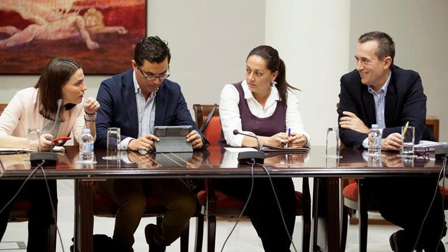 Los diputados del Grupo Nacionalista Canario, Migdalia Machín, Pablo Rodríguez, Nereida Calero y José Miguel Ruano (i a d), momentos antes del inicio de la Comisión parlamentaria sobre la Reforma Electoral.