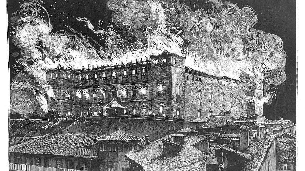 Incendio en el Alcázar de Toledo