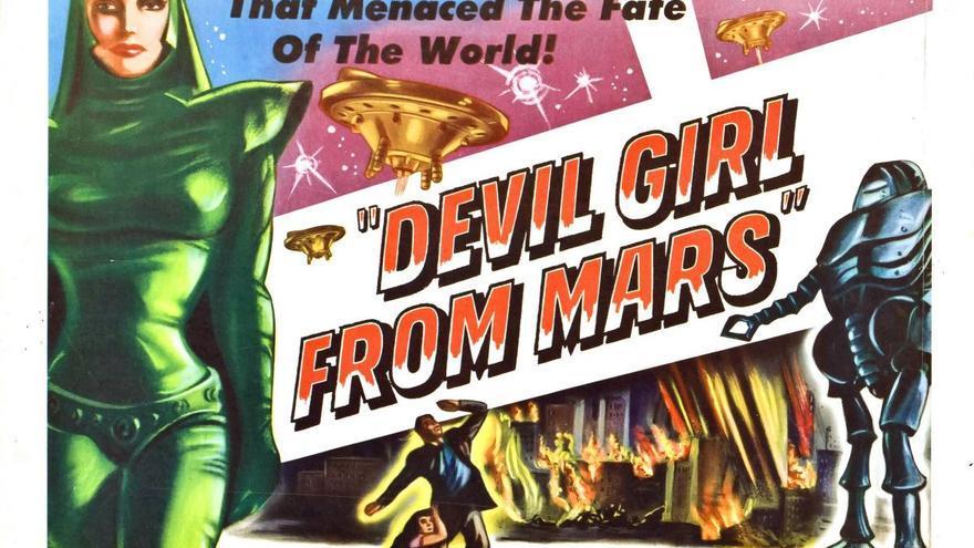 En 'Devil girl from Mars', el feminismo marciano entra en guerra abierta con los hombres del planeta rojo y debe viajar a la Tierra para secuestrar varones fértiles