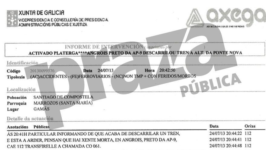 Listado de llamadas y actuaciones del 112 durante el accidente del Alvia