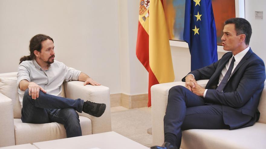 Pedro Sánchez y Pablo Iglesias, en una reunión en el Palacio de la Moncloa en septiembre de 2018.