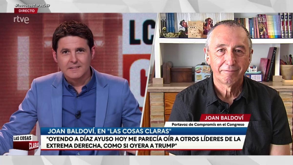 Jesús Cintora con Joan Baldoví en 'Las cosas claras'