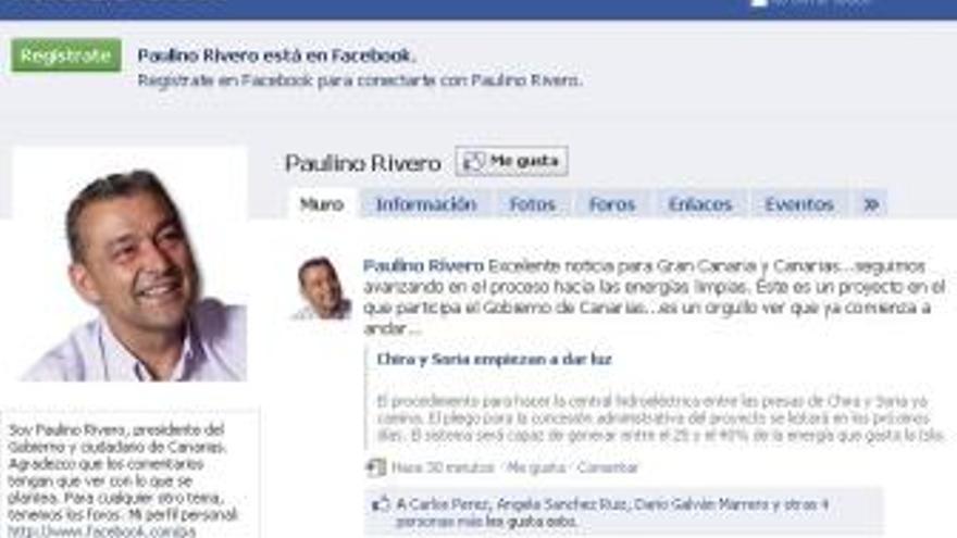 Perfil de Paulino Rivero en Facebook.
