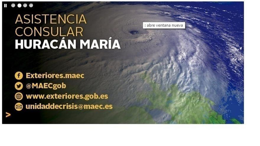 Exteriores aconseja a los españoles en el Caribe que se registren y facilita teléfonos consulares ante el huracán María