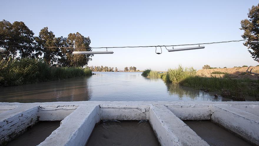 Entrada de agua desde el río Guadalquivir a una estación de bombeo.