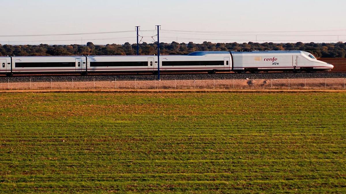 Un tren AVE en circulación.