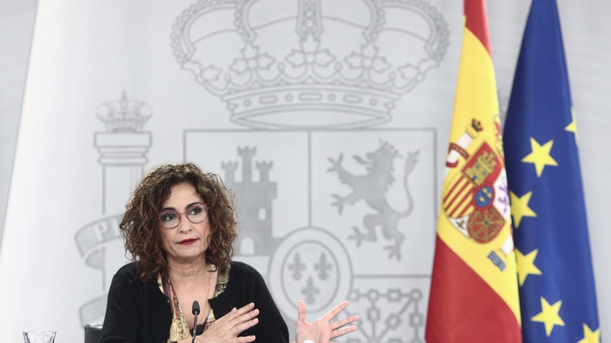 La ministra de Hacienda, María Jesús Montero, en una rueda de prensa del Consejo de Ministros