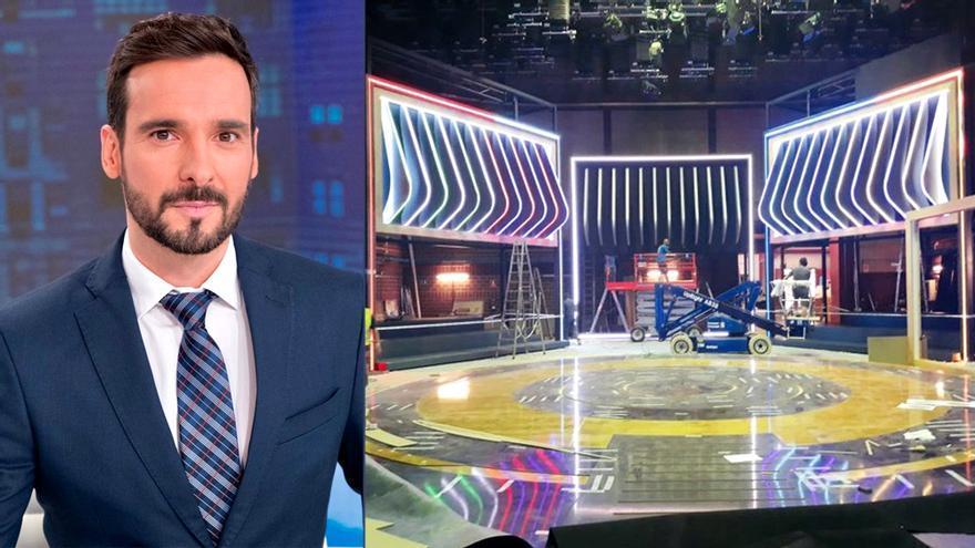 Lluís Guilera y el plató de 'La pr1mera pregunta' en TVE