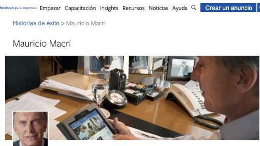 """Captura de un anuncio en Facebook de la campaña de Mauricio Macri con el eslogan """"El presidente de Facebook"""""""