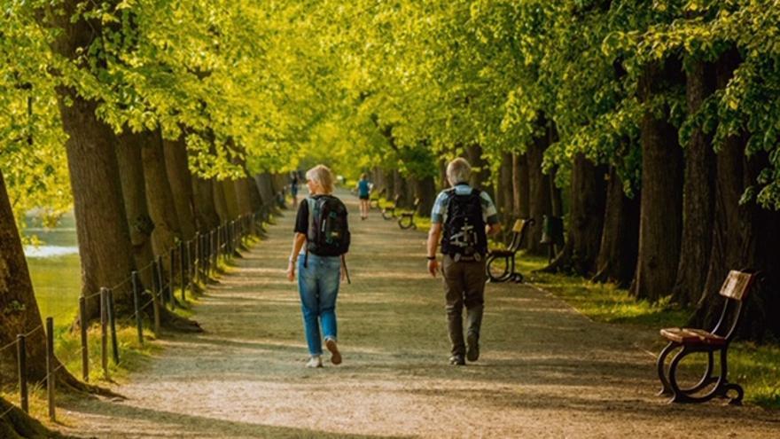 Dos personas caminan por un parque