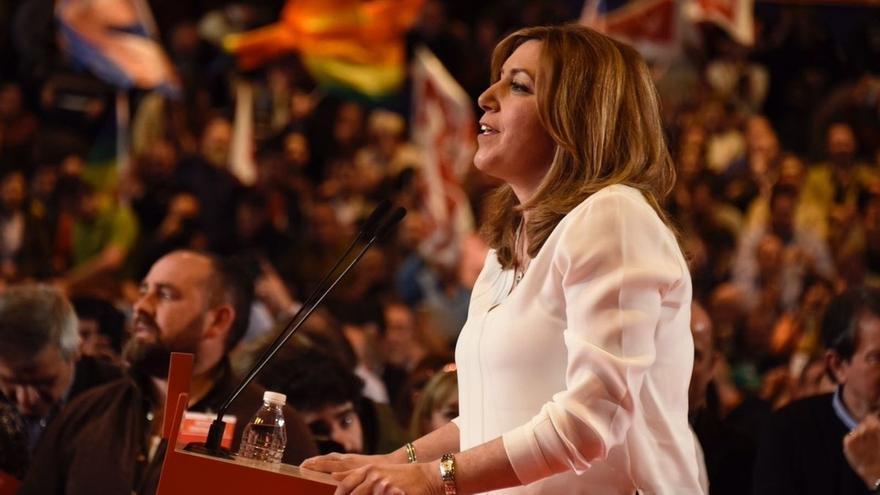 """Susana Díaz recalca que no tiene adversarios en el PSOE, sino fuera, y pide el voto a quien no quiera """"pasar factura"""""""