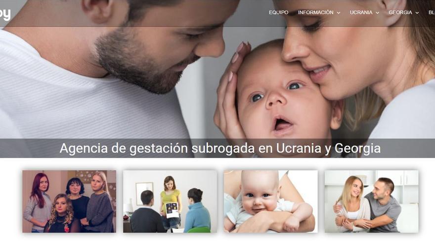 Página web de una de las empresas intermediarias de gestación subrogada.