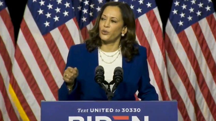 Kamala Harris en su presentación como candidata demócrata a la Vicepresidencia de Estados Unidos en Wilmington, Delaware, EE.UU., este 12 de agosto de 2020. EFE/EPA/BIDEN HARRIS CAMPAIGN