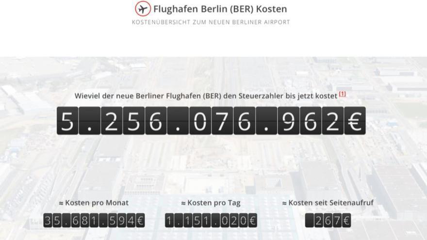 Captura de pantalla del contador de costes del aeropuerto Berlín Brandeburgo Willy Brandt (BER).