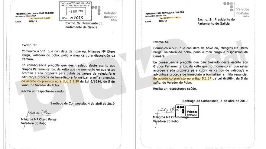 Cartas remitidas pola Valedora do Pobo al Parlamento gallego el 4 de abril (izquierda) y el 5 de abril
