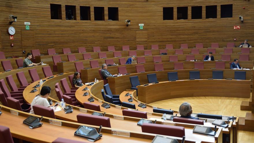 Un instante de la comisión de reconstrucción de las Corts Valencianes.