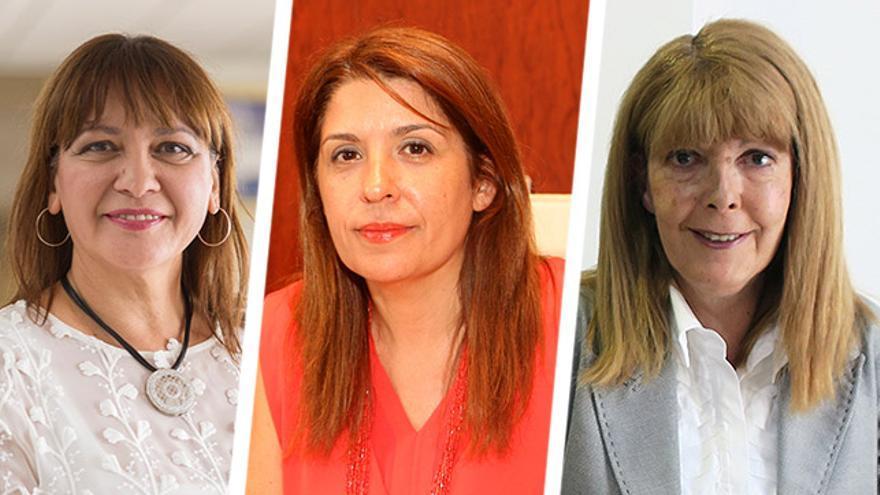 La alcaldesa de Santa Lucía, Dunia González; la de Telde, Carmen Hernández y la de Firgas, María del Rosario Marrero.