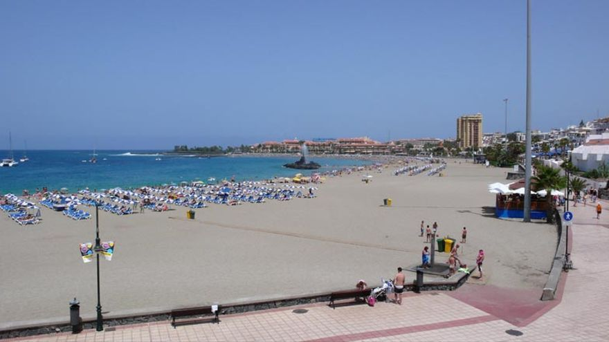 Playa de Las Vistas, en Arona, en una foto de archivo