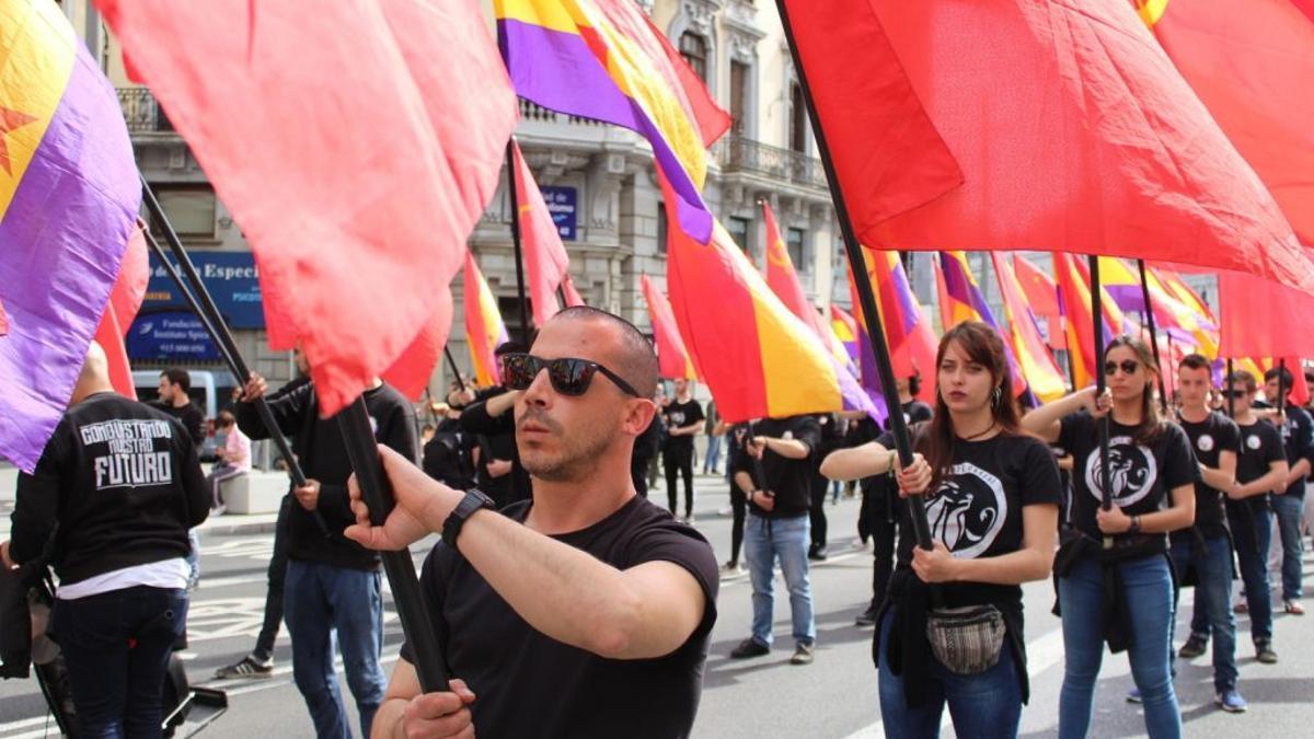 Manifestación de Reconstrucción Comunista el 14 de abril del 2019 en Madrid.