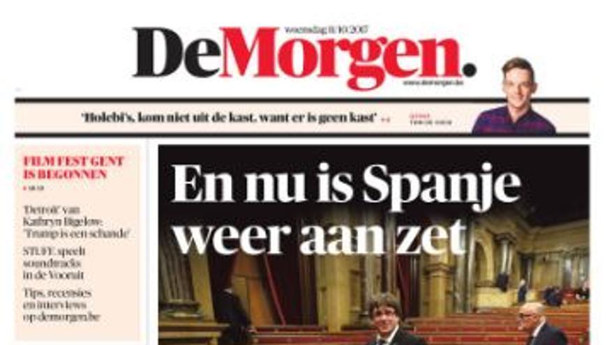 """La portada de De Morgen: """"Y ahora le toca a España"""""""