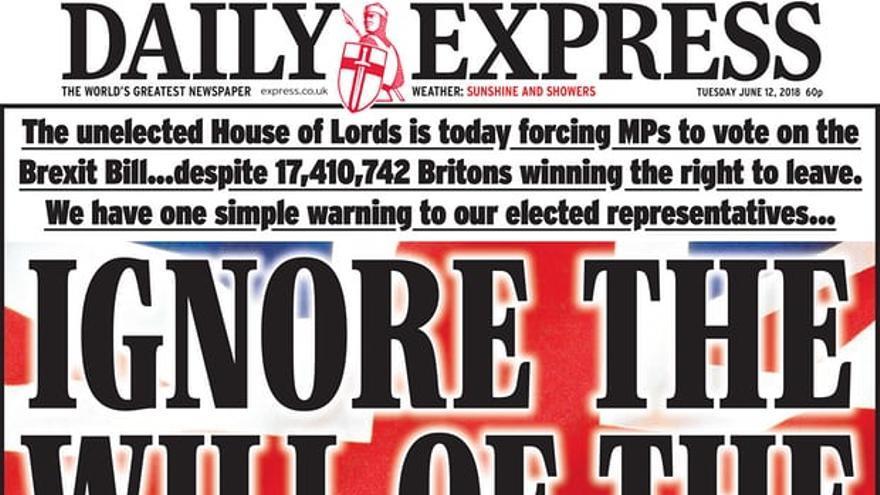 """Portada del Daily Express: """"Si ignoráis la voluntad del pueblo, asumid vuestro propio riesgo"""""""