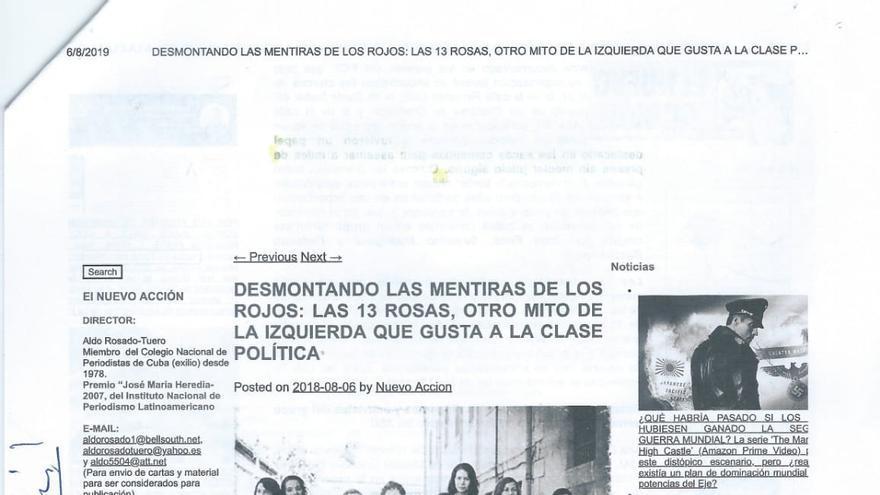 """En la denuncia se adjuntan los artículos en los que se califica a 'Las 13 rosas' como """"asesinas"""" y """"terroristas"""""""