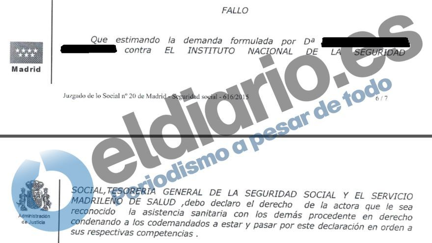 Extracto de la sentencia del juzgado nª 20 de lo Social de Madrid, en la que falla a favor de la familia de Estela, contra la Seguridad Social.