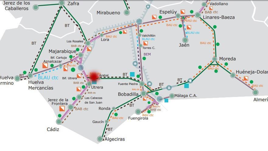 El accidente se ha producido a 6 km de la estación de El Arahal /Mapa: ADIF