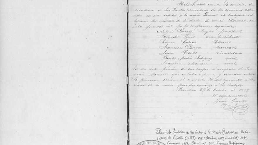 Acta de la primera Comisión Ejecutiva de UGT (Octubre de 1888).