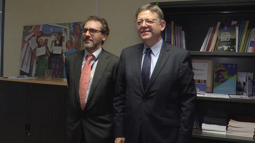 Ximo Puig con Eugenio Ambrosi en Bruselas.