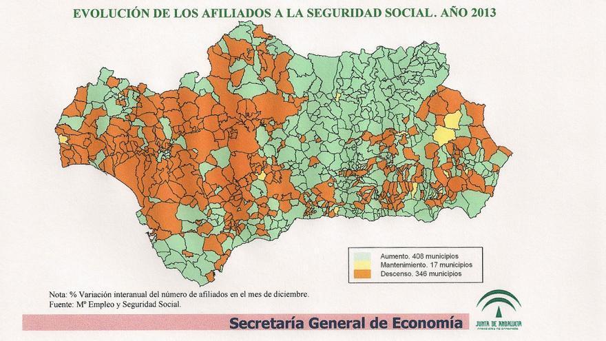 Evolución afiliación Seguridad Social en Andalucía durante 2013