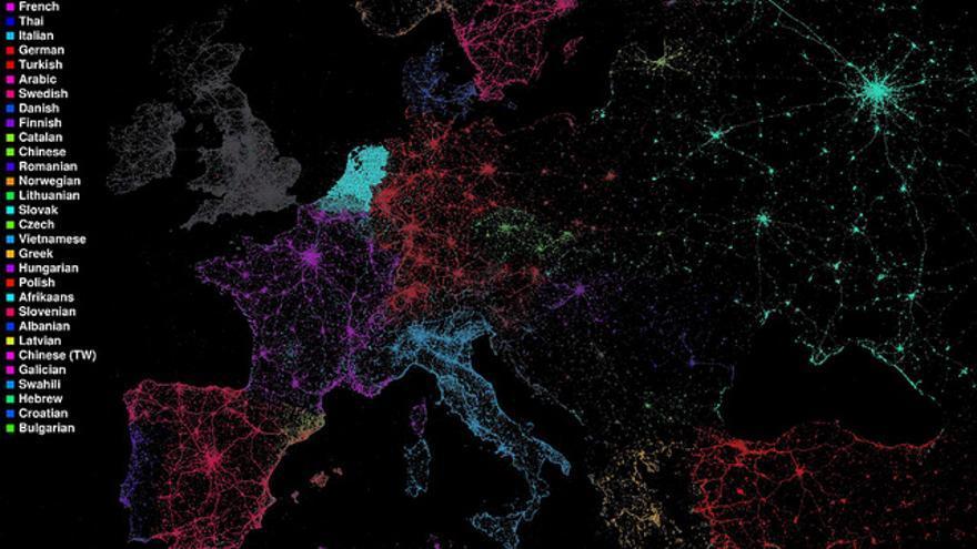 Mapa de 2011 sobre la presencia de diferentes idiomas en Twitter
