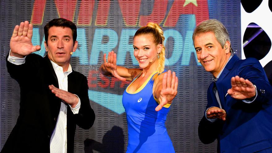 """Arturo Valls, Patricia Montero y Manolo Lama en """"Ninja Warrior 2"""""""