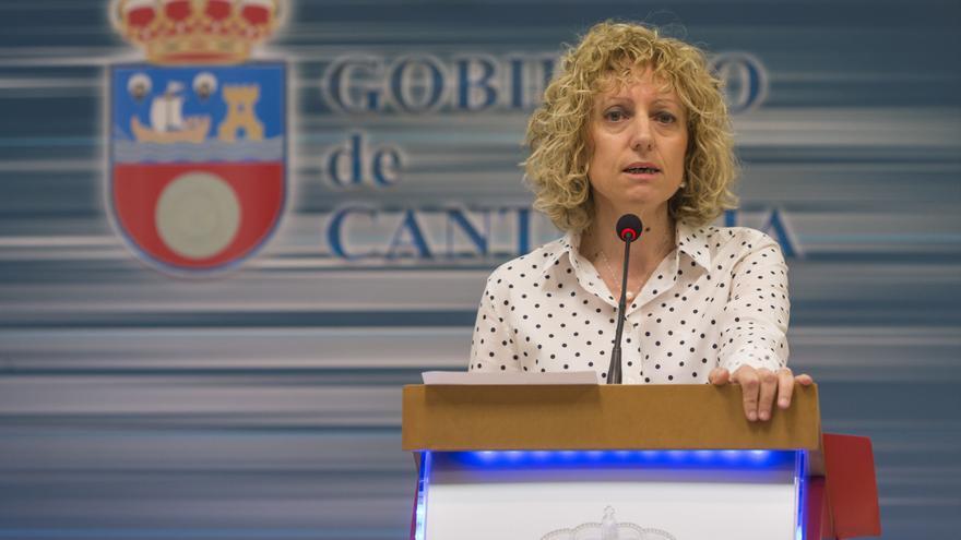 La vicepresidenta del Gobierno de Cantabria durante su comparecencia de prensa. | Miguel López