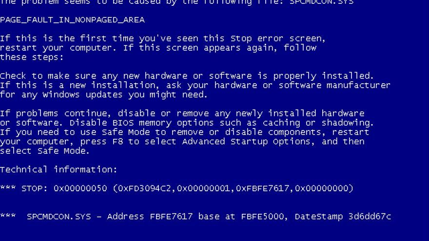 La 'screen of death' de Windows XP (Foto: Wikipedia)