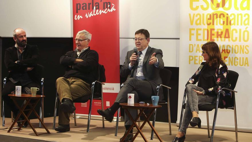 Davide Livermore, Joan Ribó, Ximo Puig y Carmen Amoraga en la presentación de la campaña de 'Voluntariat pel valencià'