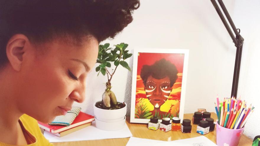 """Lydia Mba, la ilustradora del proyecto Potopo: """"Si no nos muestran imágenes que nos representen como somos, pensamos que lo bonito es lo otro""""."""