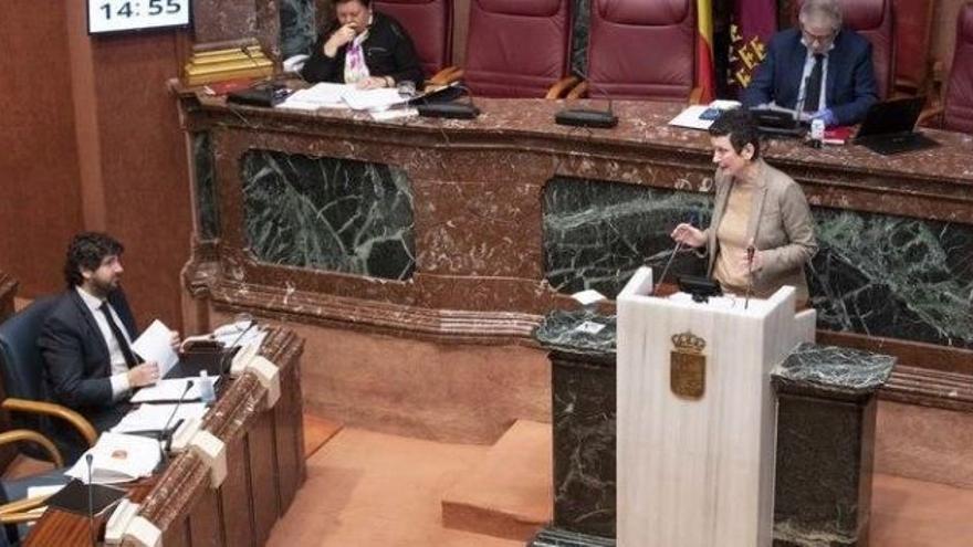 La diputada María Marín, en su comparecencia este miércoles ante el presidente murciano