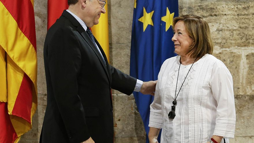 El president Ximo Puig junto a la coordinadora general de EU, Marga Sanz