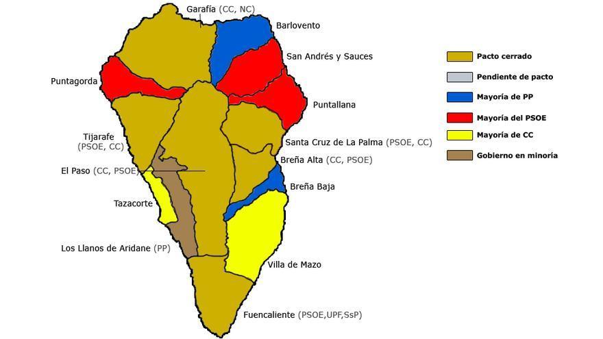 Mapa provisional de la constitución de los ayuntamientos de La Palma. (Canarias Ahora).