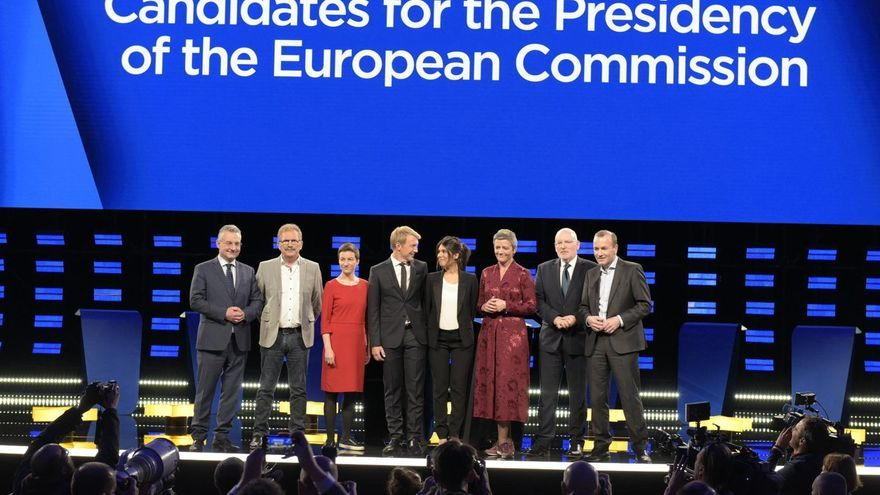 Jan Zahradil (ECR), Nico Cue (Partido de la Izquierda), Ska Keller (Verdes),  Tran Nguyen (France Télévisions, Francia), Annastiina Heikkilä (Yle, Finlandia), Markus Preiss (ARD, WDR, Alemania), Margrethe Vestager (ALDE), Frans Timmermans (S&D) y Manfred Weber (PPE).