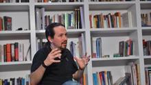 El secretario general de Podemos, Pablo Iglesias, durante la entrevista con eldiario.es.