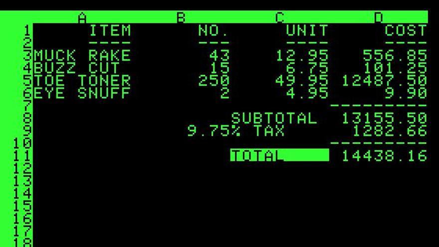 Así lucía VisiCalc (Imagen: Wikipedia)