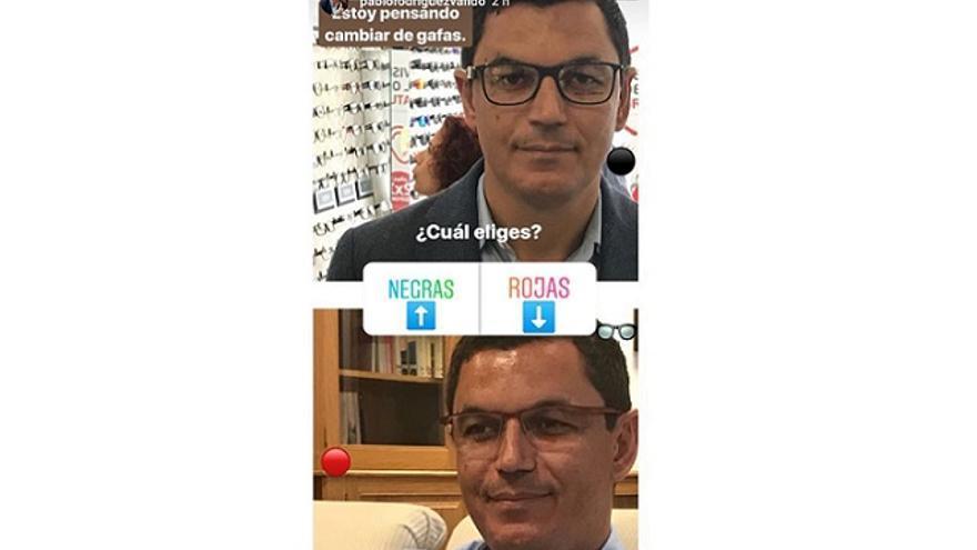 Pablo Rodríguez pregunta en instagram si se compra unas gafas rojas o negras.
