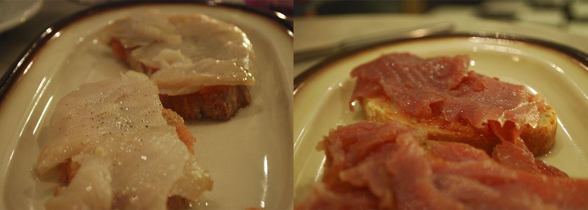 Díptico tosta de bacalao y de atún ahumado_Malasaña a mordiscos_Muy placer en conserva
