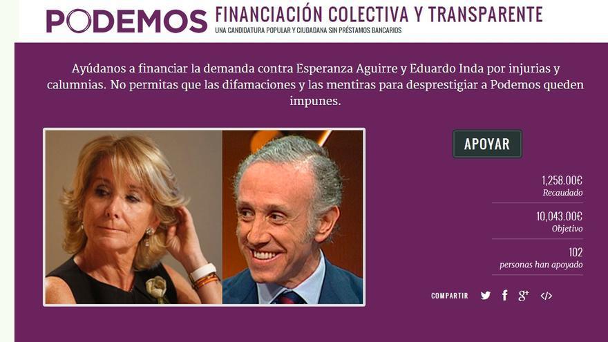 Campaña de Podemos para financiar las acciones legales contra Aguirre e Inda