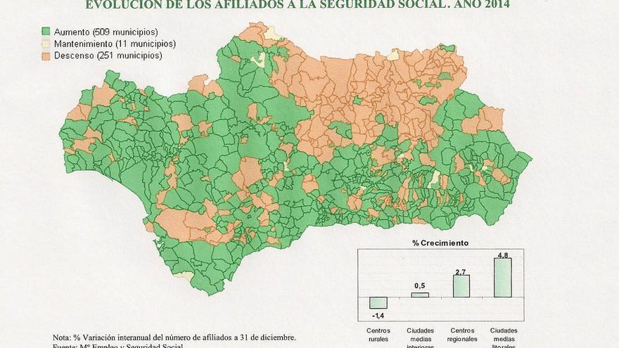 Evolución territorial de los afiliados a la SS en Andalucía 2014